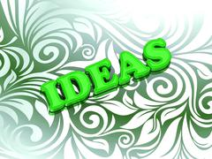 Stock Illustration of IDEAS  bright color letters on nice green ornament background