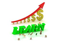 LEARN- bright color letters and graphic growing dollars and red arrow on a wh Stock Illustration