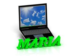 MARIA- Name and Family bright letters near Notebook and  inscription Dating o - stock illustration