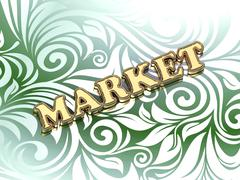 MARKET bright color letters on nice green ornament background - stock illustration