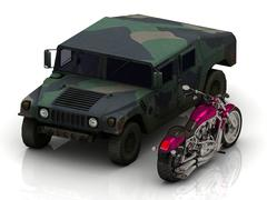 jeep heavy army and bright civil motorcycle on white - stock illustration