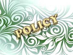 POLICY bright color letters on nice green ornament background Stock Illustration