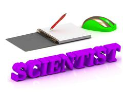 SCIENTIST  bright volume letter and copybook with red pen and computer mouse - stock illustration