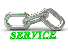 SERVICE- inscription of color letters and Silver chain of the section on whit - stock illustration