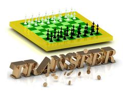 TRANSFER- bright gold letters money and yellow chess on white background - stock illustration