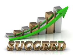 SUCCEED- inscription of gold letters and Graphic growth and gold arrows on wh - stock illustration