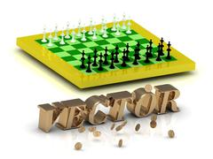 VECTOR- bright gold letters money and yellow chess on white background Stock Illustration