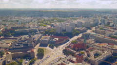 Aerial view of busy street intersection in Berlin. Cars stop at traffic lights Stock Footage