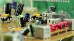Microcircuit chip with electronic components Stock Footage
