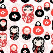 Funny pattern with dolls Stock Illustration