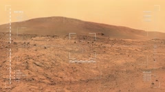 Mars rover camera panning shot of moderate dust storm at Tuskegee Crater.  Stock Footage