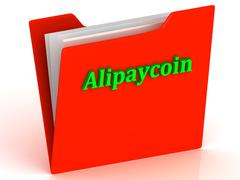 Alipaycoin- bright green letters on a gold folder on a white background - stock illustration
