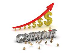 C2H5OH  bright silver letters and graphic growing dollars and red arrow on a Stock Illustration