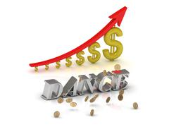 DANCE bright silver letters and graphic growing dollars and red arrow on a wh Stock Illustration
