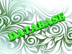 DATABASE- bright color letters on nice green ornament background - stock illustration