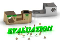 EVALUATION - words of color letters and silver details and bronze details on - stock illustration