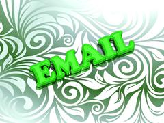 EMAIL- bright color letters on nice green ornament background - stock illustration