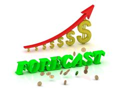FORECAST- bright color letters and graphic growing dollars and red arrow on a - stock illustration