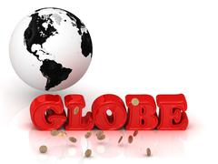 GLOBE bright color letters, black and white Earth on a white background - stock illustration
