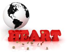 HEART bright color letters, black and white Earth on a white background - stock illustration