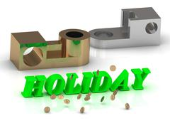 HOLIDAY - inscription of green letters and silver details on white background Stock Illustration