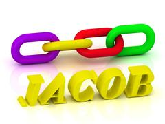 JACOB- Name and Family of bright yellow letters and chain of green, yellow, r Stock Illustration
