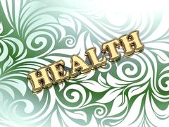 HEALTH  bright color letters on nice green ornament background Stock Illustration