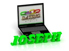 JOSEPH- Name and Family bright letters near Notebook and  inscription Dating Stock Illustration