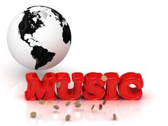 MUSIC bright color letters, black and white Earth on a white background - stock illustration