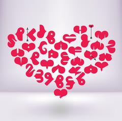 Heart font - stock illustration