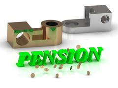 PENSION - words of color letters and silver details and bronze details on whi - stock illustration