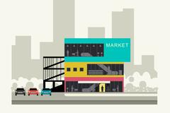 Supermarket on the roadside - stock illustration