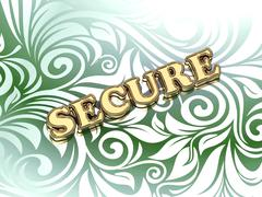 Stock Illustration of SECURE  bright color letters on nice green ornament background