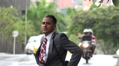 Disappointed Business Man in Rain Stock Footage
