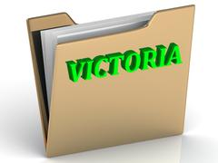 VICTORIA- bright green letters on gold paperwork folder on a white background - stock illustration