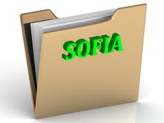 SOFIA- bright green letters on gold paperwork folder on a white background - stock illustration