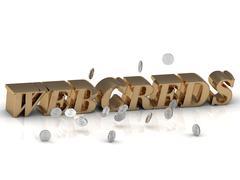 WEBCREDS - inscription of gold letters on white background - stock illustration