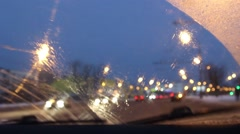 Stock Video Footage of windscreen in the car, wiper