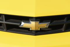 Chevrolet Automobile Grille and Logo. - stock photo