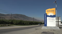 Stock Video Footage of welcome to British Columbia, arriving from Wash State along Hwy 97, #1
