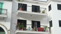 Establishing shot, panorama view of private holiday house with balconies, resort Stock Footage