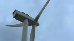 Strong wind rotating turbine propeller, stormy weather, cloudy sky, hurricane Stock Footage