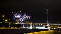 Macau-Taipa Bridge, Macau Tower and fireworks - stock photo