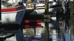 Sterns of boats moored at a dock Stock Footage