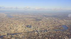 Aerial view of cityscape around London - stock photo