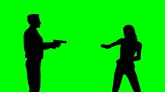 Man points a gun at a woman Stock Footage