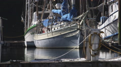 Dockside layered view of boats in harbor Stock Footage