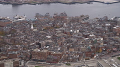 Flying over Old Town Boston toward Charles River; Old North Church in lower Stock Footage