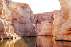 The famous Antelope Canyon from boat trip, Page Stock Photos