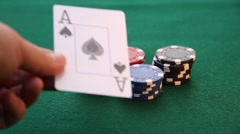 Ace and King placed on poker chips Stock Footage